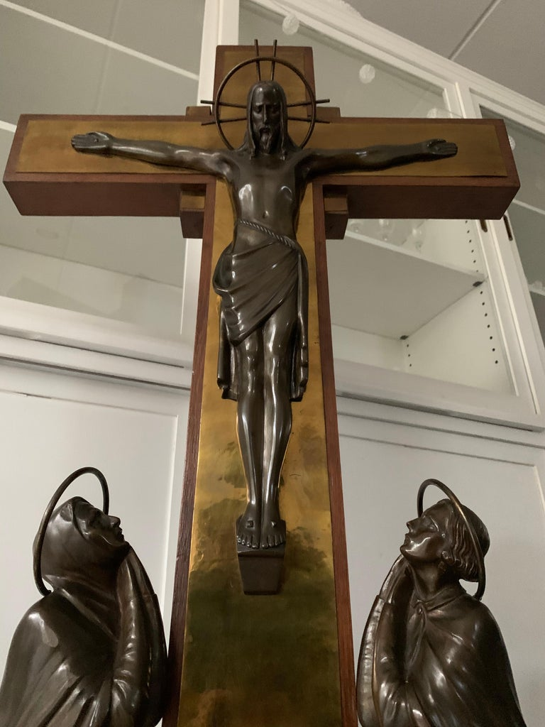Stunning Church Altar Crucifix with Bronze Sculptures of Christ Mary John For Sale 11