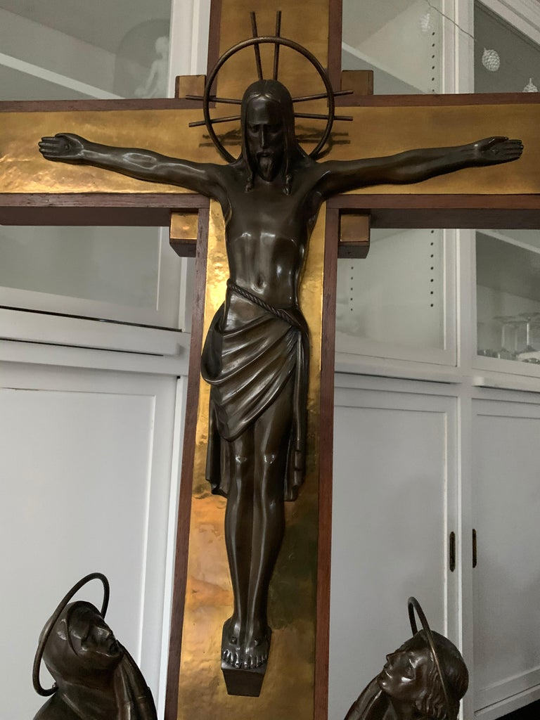 Stunning Church Altar Crucifix with Bronze Sculptures of Christ Mary John For Sale 12