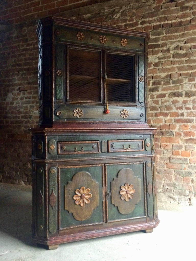 Stunning Antique Cupboard Cabinet French Painted Provincial 19th Century At 1stdibs