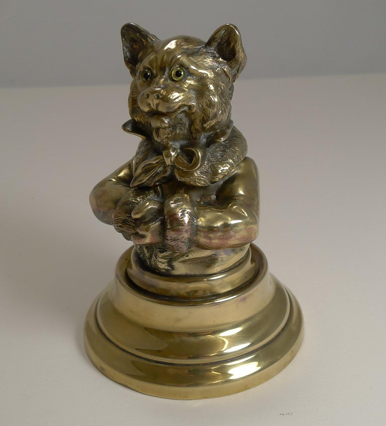 Stunning Antique English Brass Novelty Inkwell, Cat, circa 1880 In Good Condition For Sale In London, GB