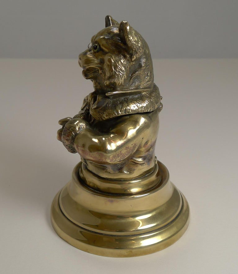 Late 19th Century Stunning Antique English Brass Novelty Inkwell, Cat, circa 1880 For Sale