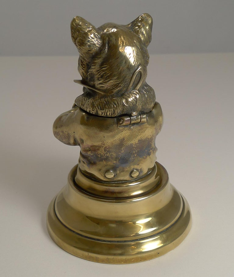 Stunning Antique English Brass Novelty Inkwell, Cat, circa 1880 For Sale 1