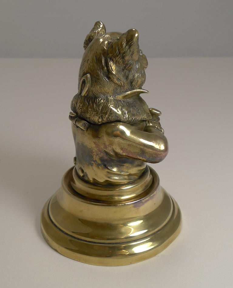 Stunning Antique English Brass Novelty Inkwell, Cat, circa 1880 For Sale 2