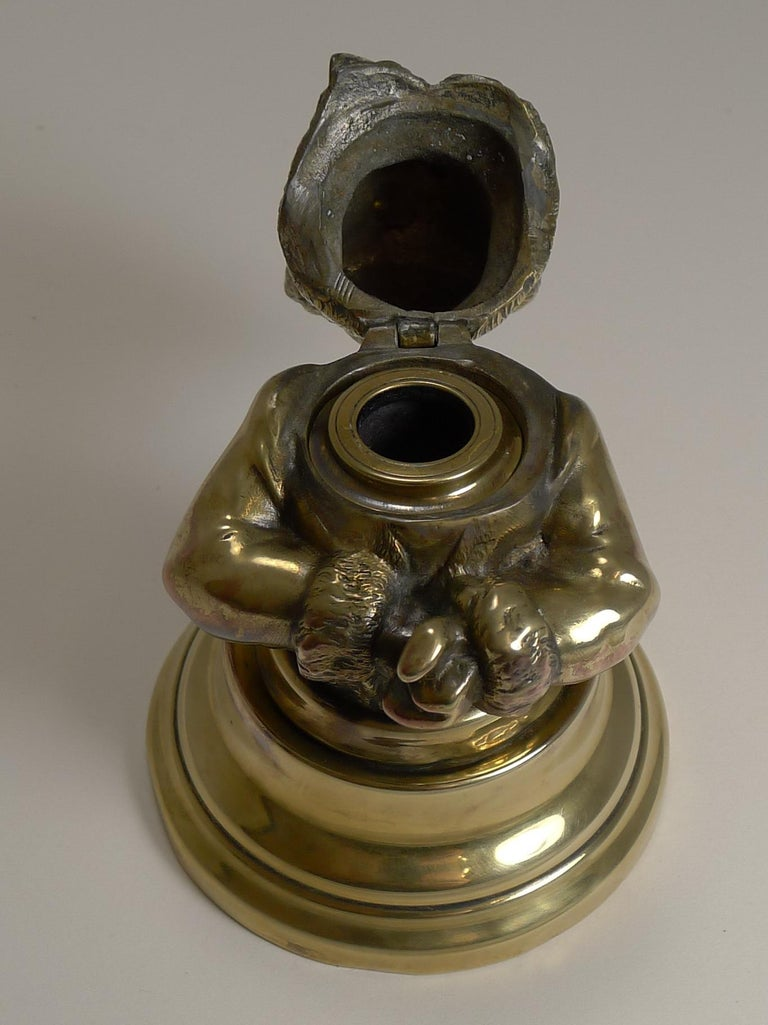 Stunning Antique English Brass Novelty Inkwell, Cat, circa 1880 For Sale 4
