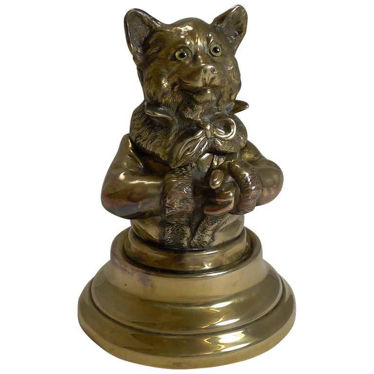 Stunning Antique English Brass Novelty Inkwell, Cat, circa 1880 For Sale