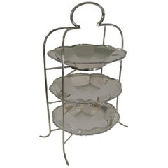 Stunning Antique English Silver Plated Three-Tier Cake Stand, circa 1900