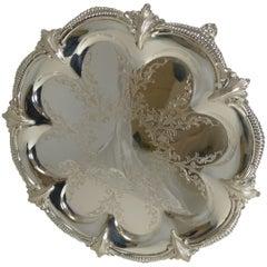 Stunning Antique English Silver Plated Tray or Salver, circa 1860