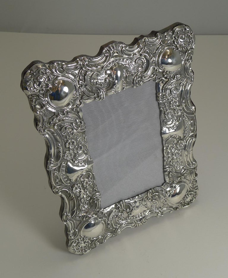 Stunning Antique English Sterling Silver Photograph Frame, 1902 For Sale 3