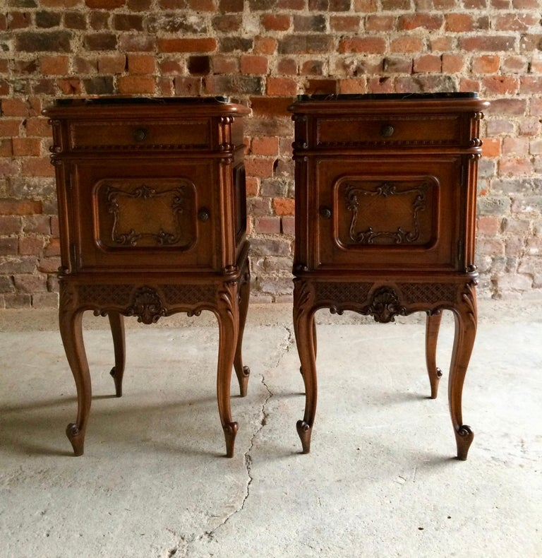 Stunning Antique French Bedside Tables Nightstands Marble