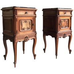 Stunning Antique French Bedside Tables Nightstands Marble Pair, Victorian, 1890