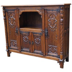 Stunning Antique Gothic Revival Hand Carved Bookcase / Sideboard /Drinks Cabinet