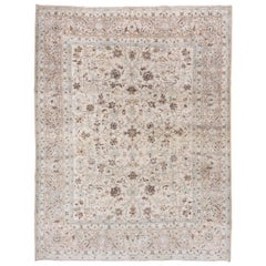 Stunning Antique Persian Tabriz Carpet, Ivory Field, Blue & Green Accents