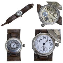 Stunning Antique Solid Sterling Silver Aviator Wristwatch Half Hunter Case