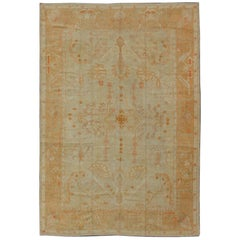 Stunning Antique Turkish Oushak Rug in Taupe, Light Green and Light Copper