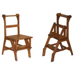 Stunning Antique Victorian 1880 English Oak Library Steps Metamorphic Chair