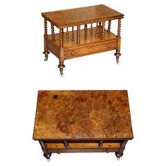 Stunning Antique Victorian Burr Walnut Whatnot Canterbury Magazine Rack Table