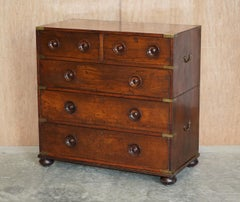 STUNNING ANTIQUE VICTORIAN MILITARY CAMPAIGN CHEST OF DRAWERS VERY RARE HANDLEs