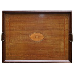 Stunning Antique Victorian Walnut & Bronze Sheraton Inlaid Butlers Serving Tray