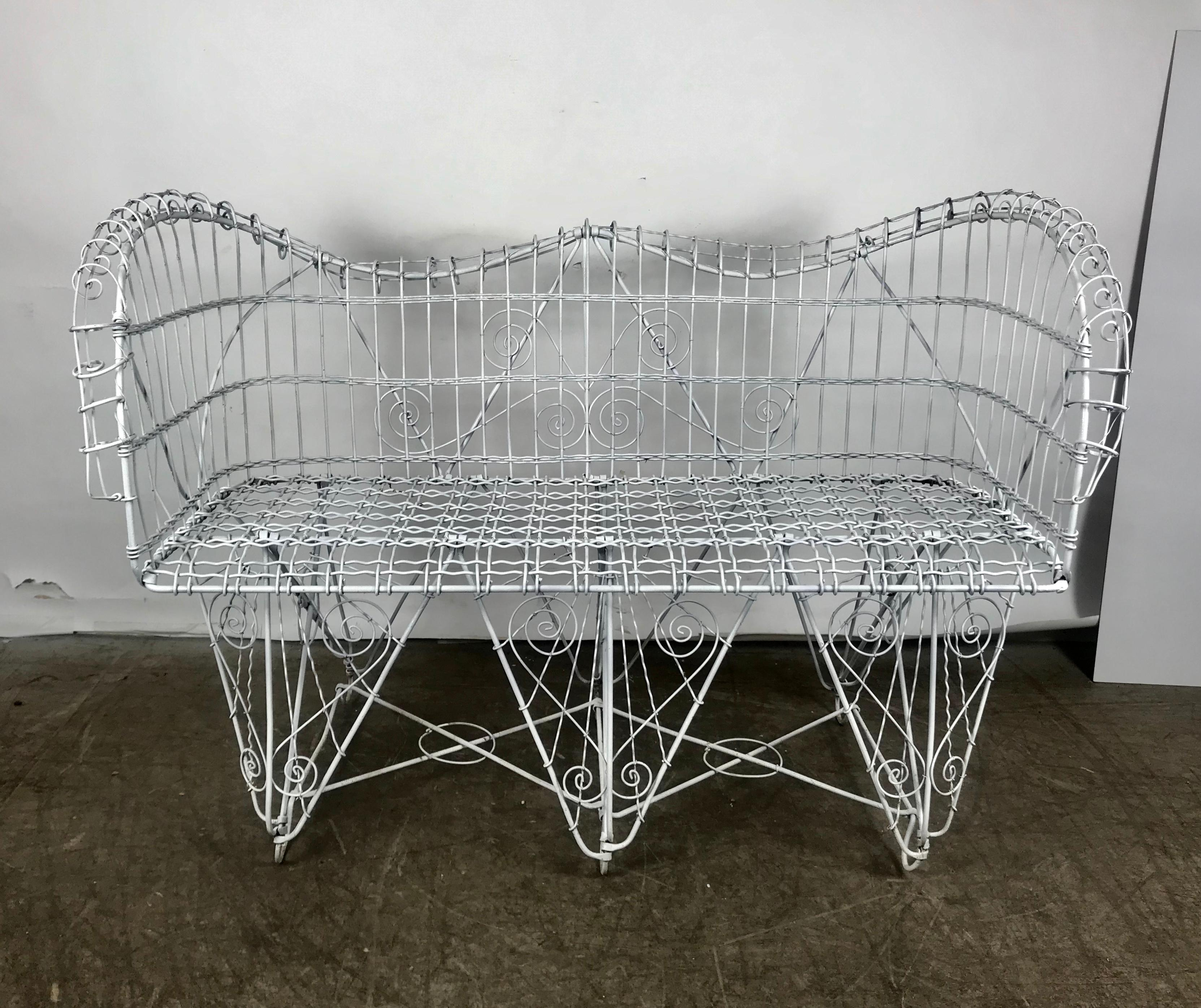 Excellent Stunning Antique Wire Iron Garden Bench Manner Of Salterini Pabps2019 Chair Design Images Pabps2019Com