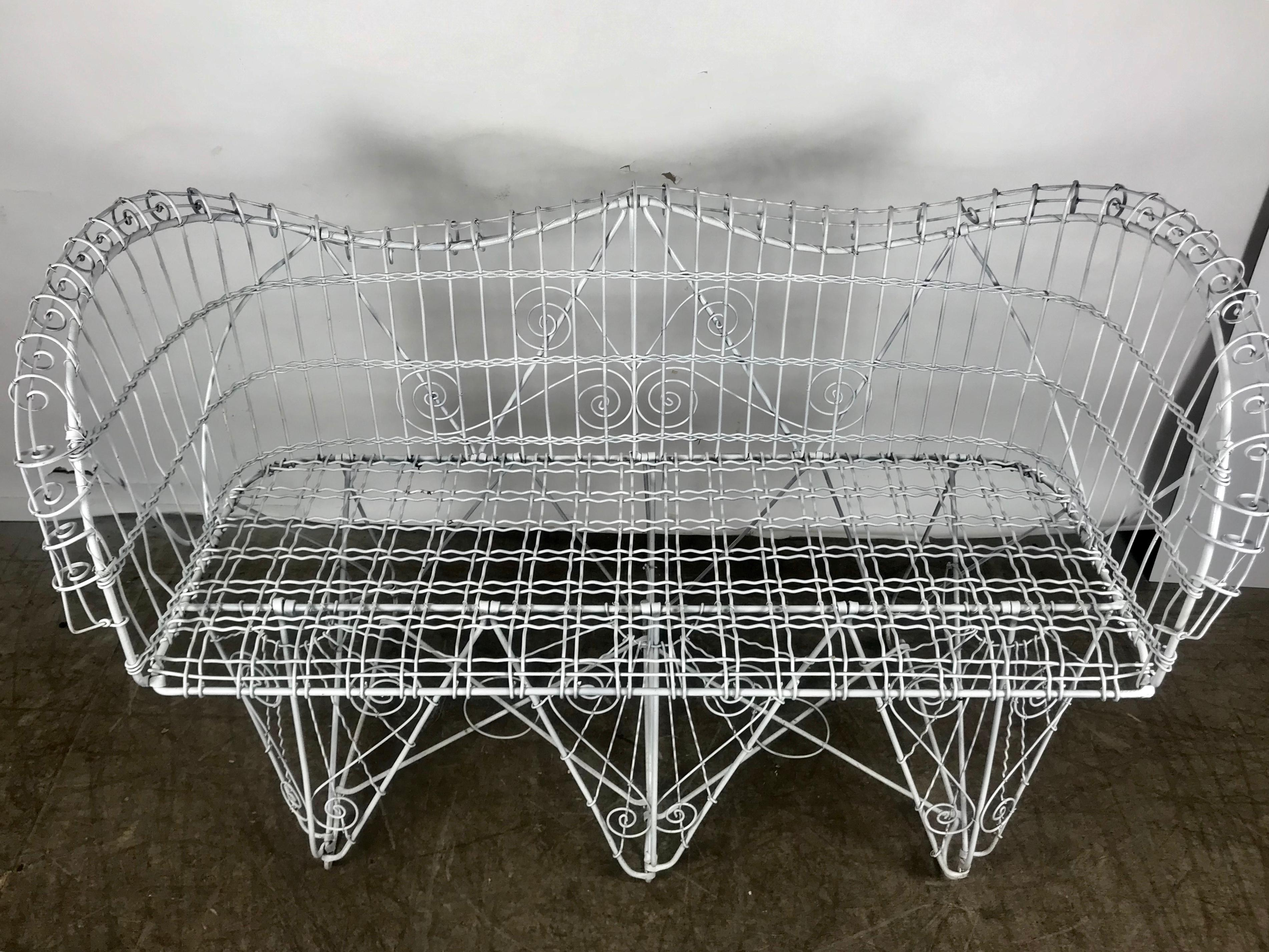 Tremendous Stunning Antique Wire Iron Garden Bench Manner Of Salterini Pabps2019 Chair Design Images Pabps2019Com