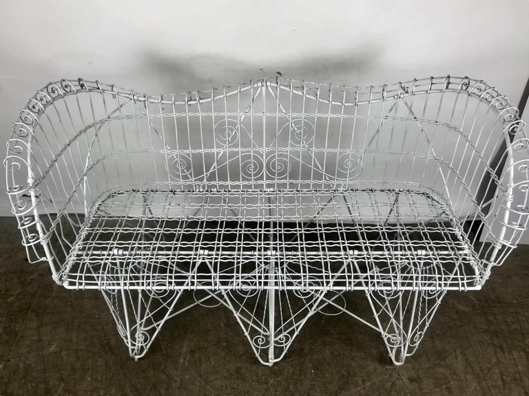 Italian Stunning Antique Wire Iron Garden Bench Manner of Salterini For Sale
