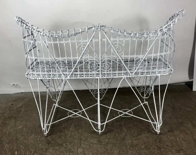 Metalwork Stunning Antique Wire Iron Garden Bench Manner of Salterini For Sale