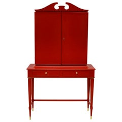 Stunning Architectural Bar Cabinet in Scarlet Lacquer by Paolo Buffa