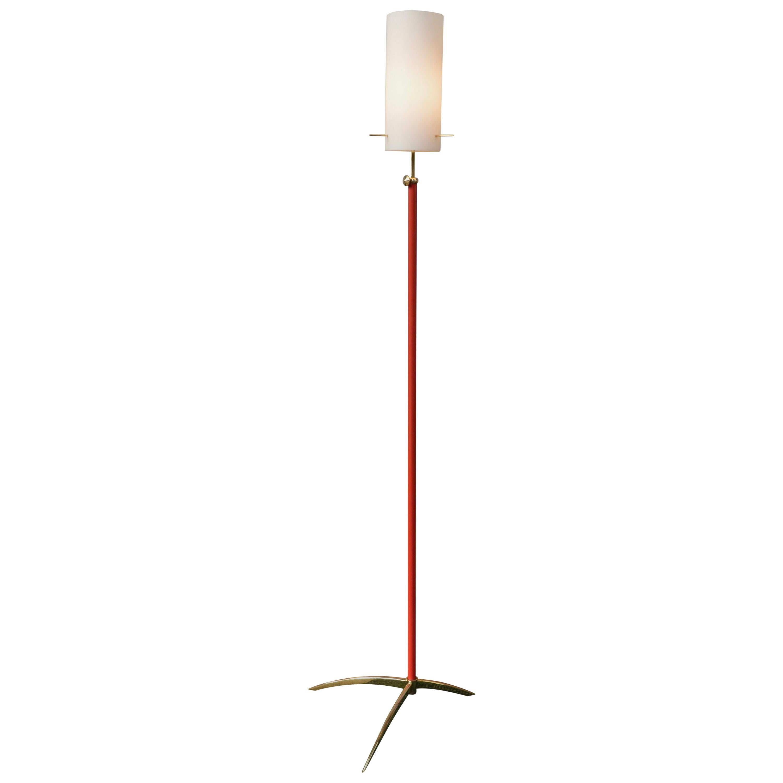 Stunning Arredoluce Style Italian Brass and Opaline Glass Floor Lamp, 1950s