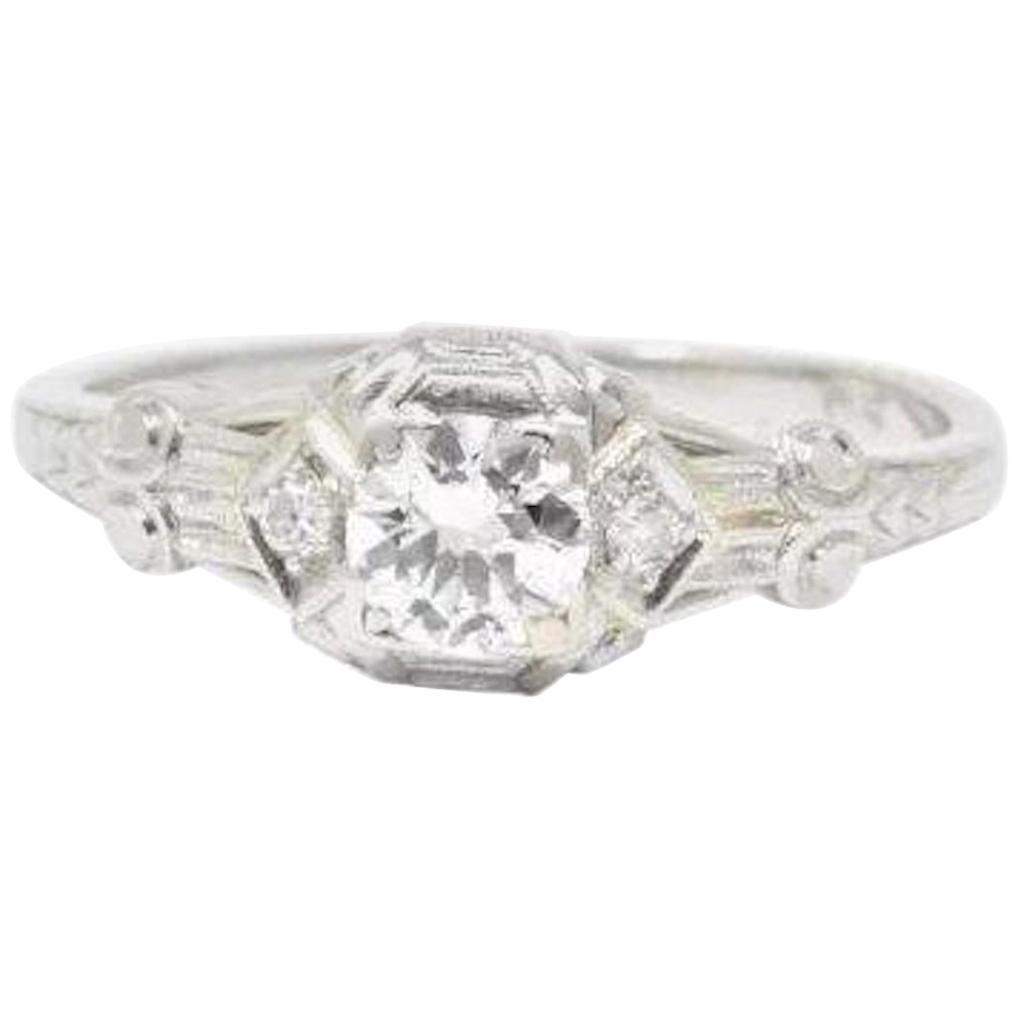 Stunning Art Deco 0.50 Carat Diamond Platinum Engagement Ring