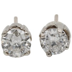 Stunning Art Deco 1.55 Ct Old European Cut Diamond G/H VS/SI Solitaire Stud Ears
