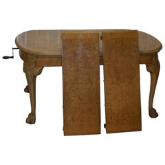 Stunning Art Deco 1910 Burr Walnut Extending Dining Table Lion Hairy Paw Feet