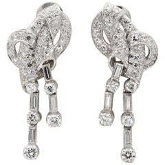 Stunning Art Deco 4.0 Carat Diamond Platinum Rare Bow Earrings