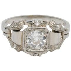 Stunning Art Deco .65 Carat Solitaire Diamond Ring