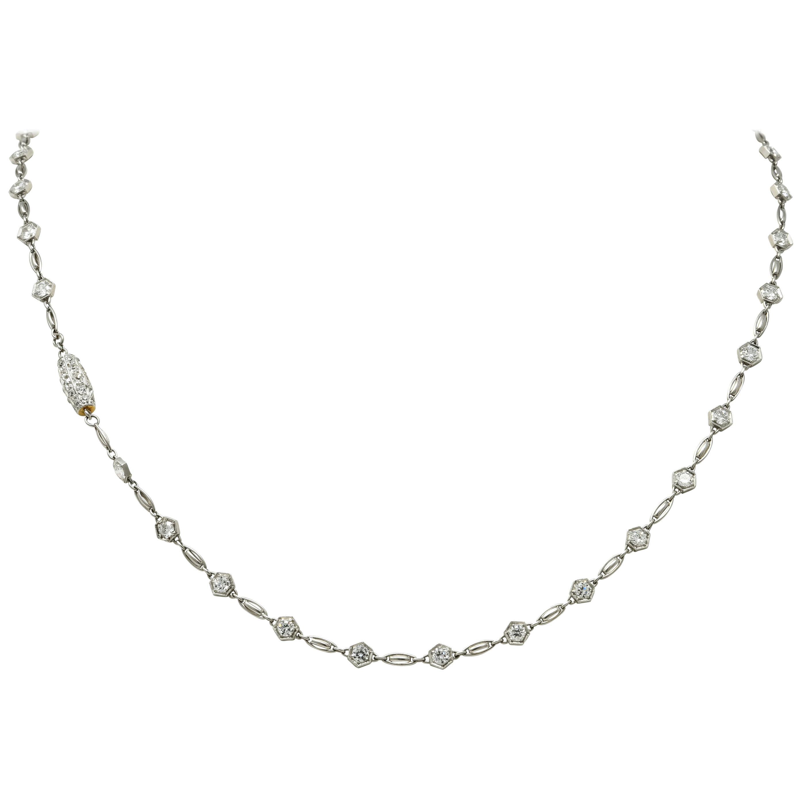 Stunning Art Deco 6.54 Carat Diamond Platinum Link Necklace, circa 1925