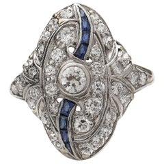 Stunning Art Deco Abstract Diamond and Sapphire Shield Ring, circa 1915