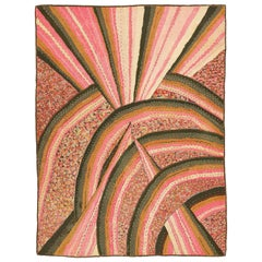 Stunning Art Deco American Hooked Rug Attributed to Ralph Pearson, Circa 1925