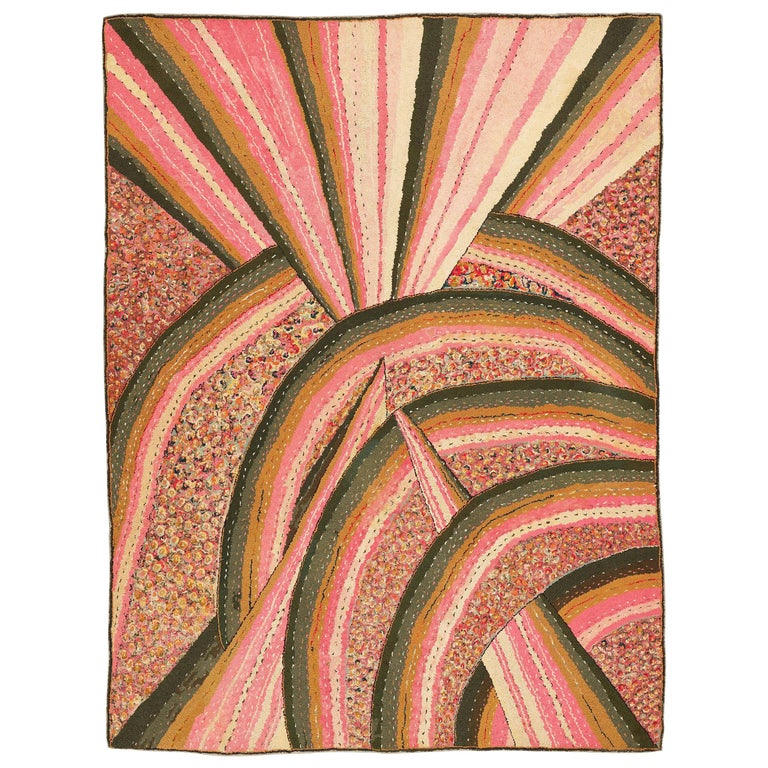 Art Deco hooked rug, ca. 1925, offered by Alberto Levi Gallery