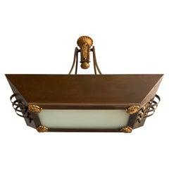Stunning Art Deco Brass, Bronze & Milk Glass Pendant Light / Stately Chandelier