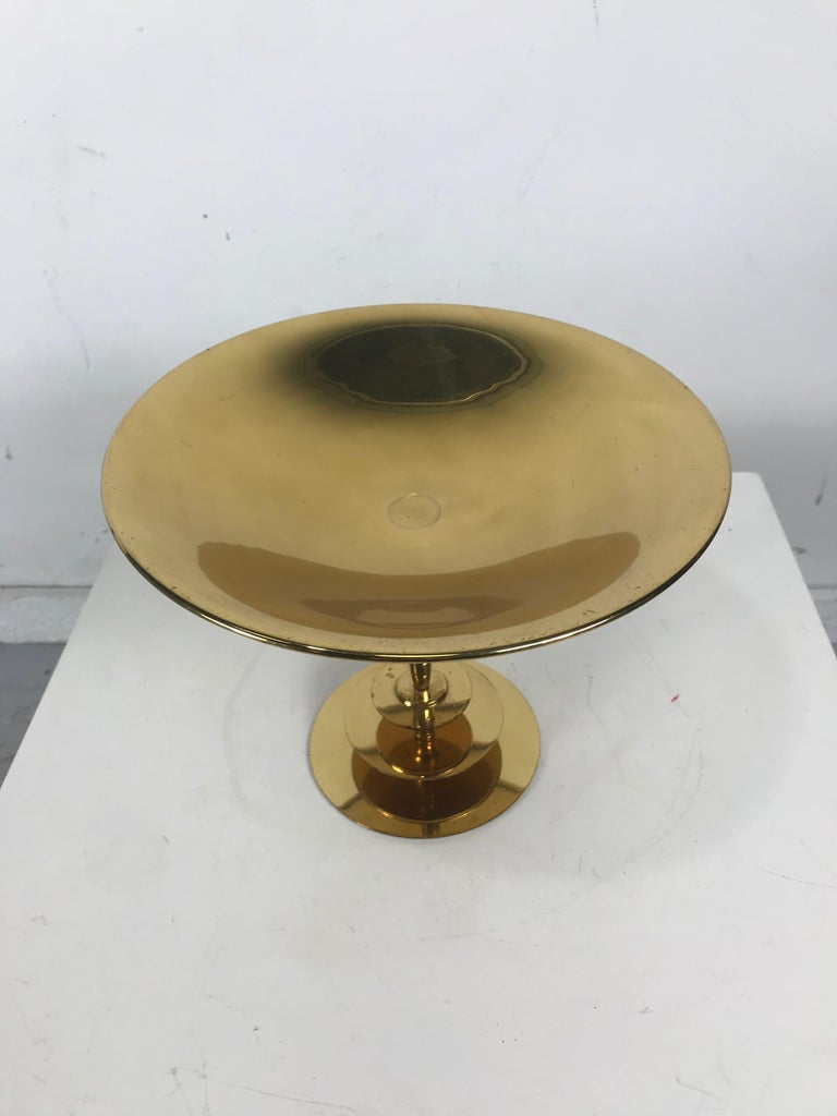 Stunning Art Deco Brass Compote/Centerpiece by Albert Gustav Bunge,,Germany.,,Reminiscent of classic designs by Tommi Parzinger,,  Karl Hagenauer