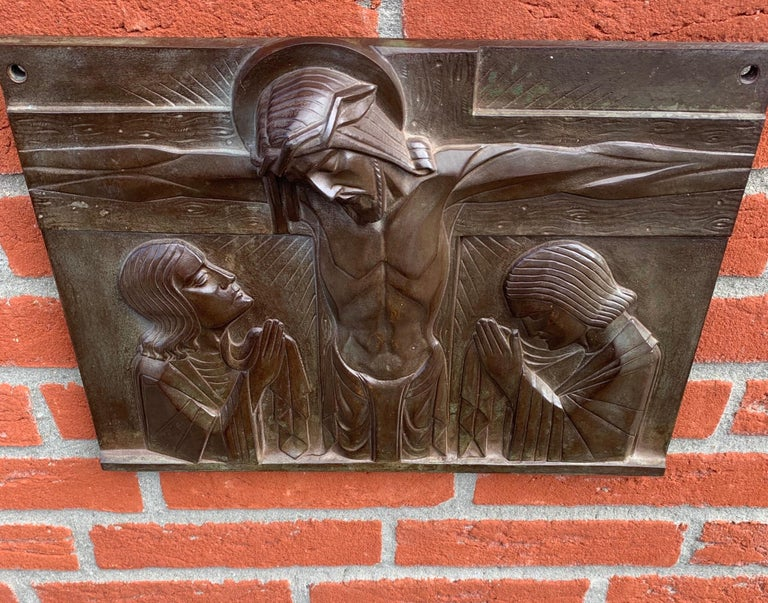 Stunning Art Deco Bronze Religious Plaque of Christ on Crucifix by Sylvain Norga For Sale 7