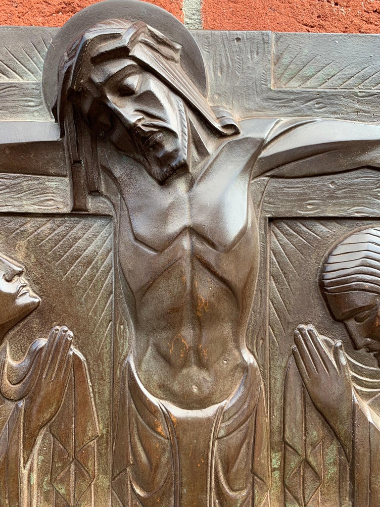 Stunning Art Deco Bronze Religious Plaque of Christ on Crucifix by Sylvain Norga For Sale 8