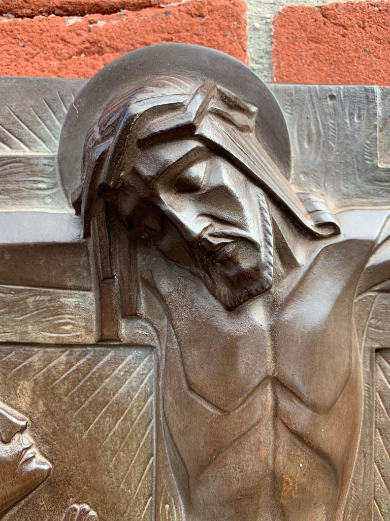 Stunning Art Deco Bronze Religious Plaque of Christ on Crucifix by Sylvain Norga For Sale 9
