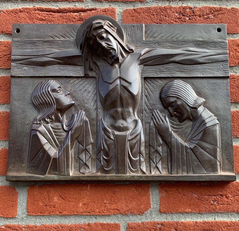 Stunning Art Deco Bronze Religious Plaque of Christ on Crucifix by Sylvain Norga For Sale 10