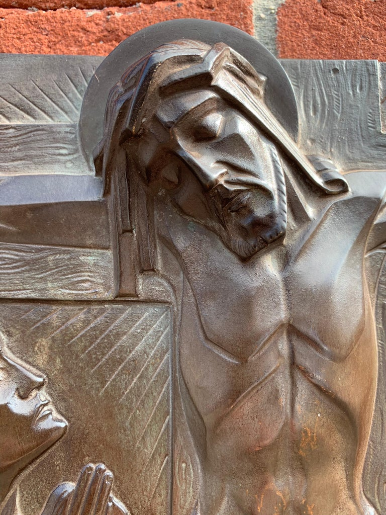 Belgian Stunning Art Deco Bronze Religious Plaque of Christ on Crucifix by Sylvain Norga For Sale