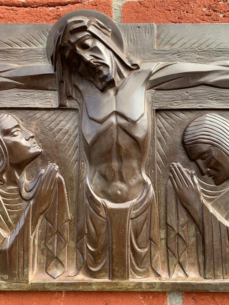 Hand-Crafted Stunning Art Deco Bronze Religious Plaque of Christ on Crucifix by Sylvain Norga For Sale