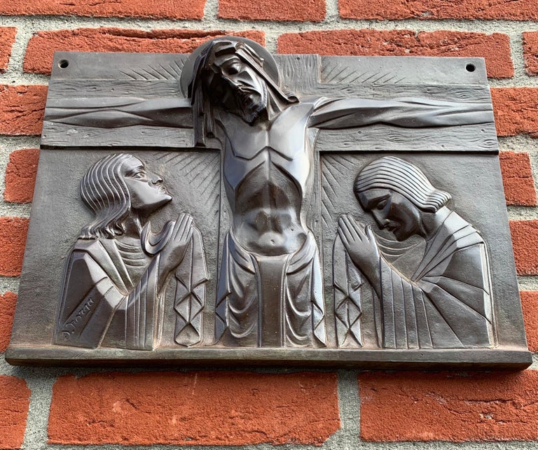 Early 20th Century Stunning Art Deco Bronze Religious Plaque of Christ on Crucifix by Sylvain Norga For Sale