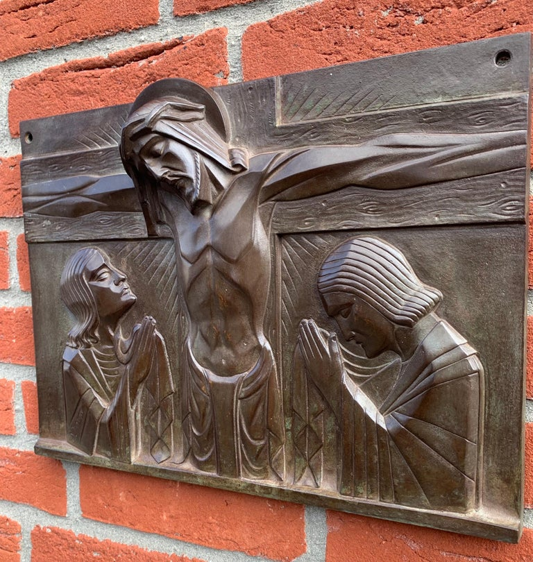 Stunning Art Deco Bronze Religious Plaque of Christ on Crucifix by Sylvain Norga For Sale 1