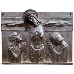 Stunning Art Deco Bronze Religious Plaque of Christ on Crucifix by Sylvain Norga
