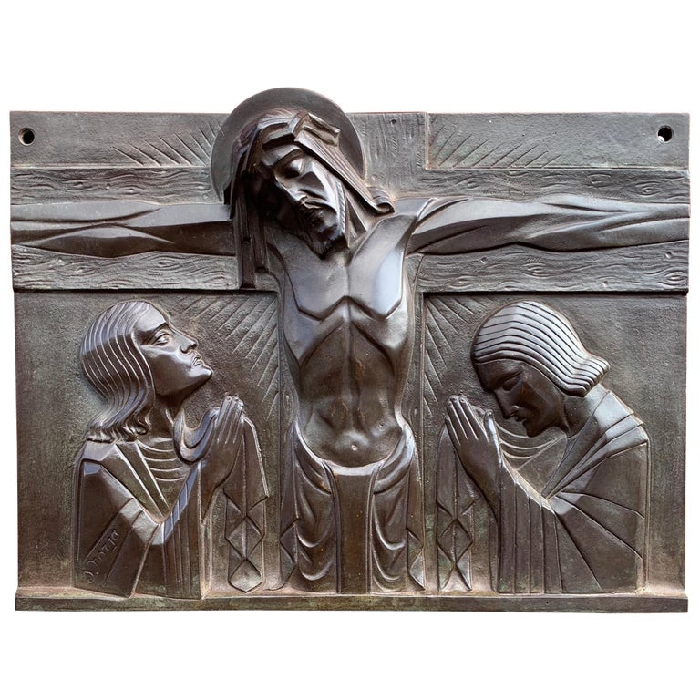 Stunning Art Deco Bronze Religious Plaque of Christ on Crucifix by Sylvain Norga For Sale