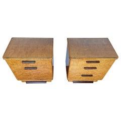 Stunning Art Deco Burl Walnut Nightstands / Bedside Tables W/ Perfect Glass Tops